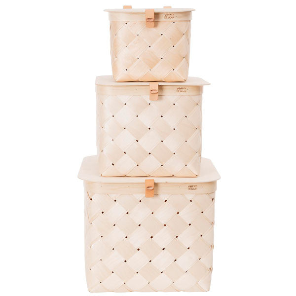 Verso Lastu Birch Basket with Lid