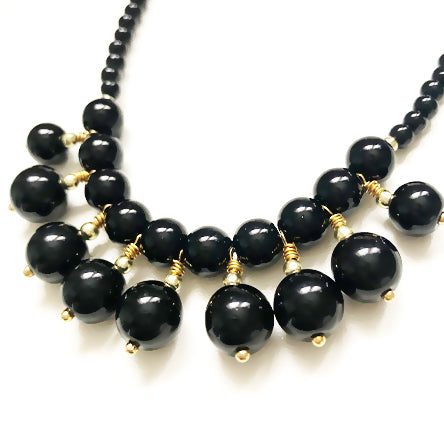 Black Pearl Bib Necklace
