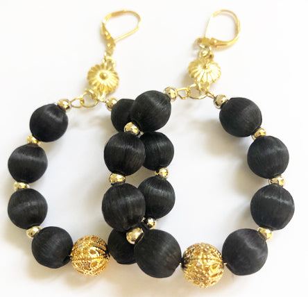 Silk Bead Hoops-Black - Ceci Punch Designs