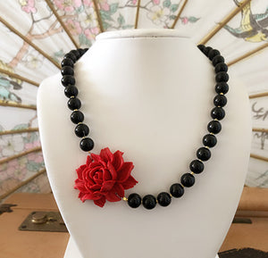Red Rose Necklace - Ceci Punch Designs
