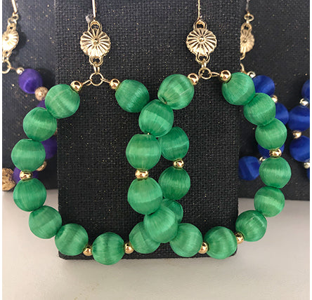 Silk Bead Hoops- Green