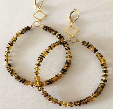 Tortoise Beaded Hoops - Ceci Punch Designs
