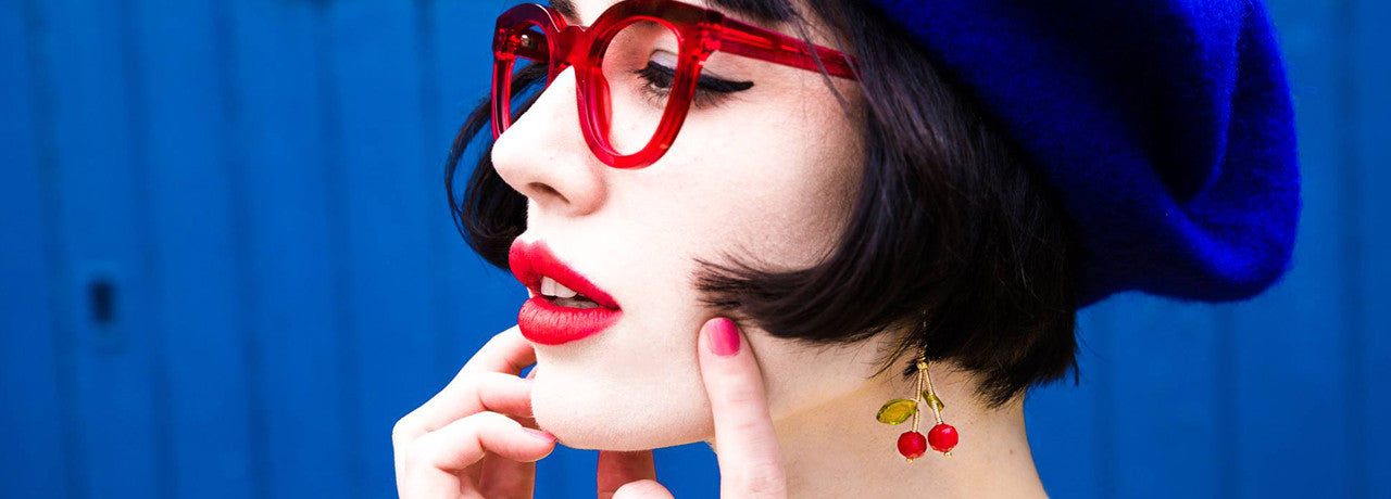 Amy Roiland wears Ceci Punch DesignsCherry Crystal earrings