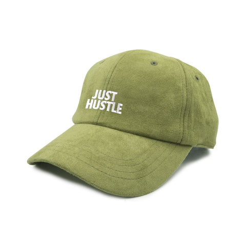Just Hustle Faux Suede Dad Cap -Olive