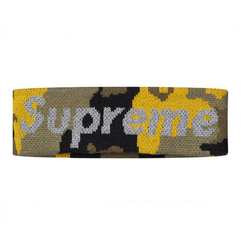 Supreme New Era Reflective Logo Headband -Yellow Camo