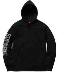 Supreme Sleeve Embroidery Hooded Sweatshirt- Black