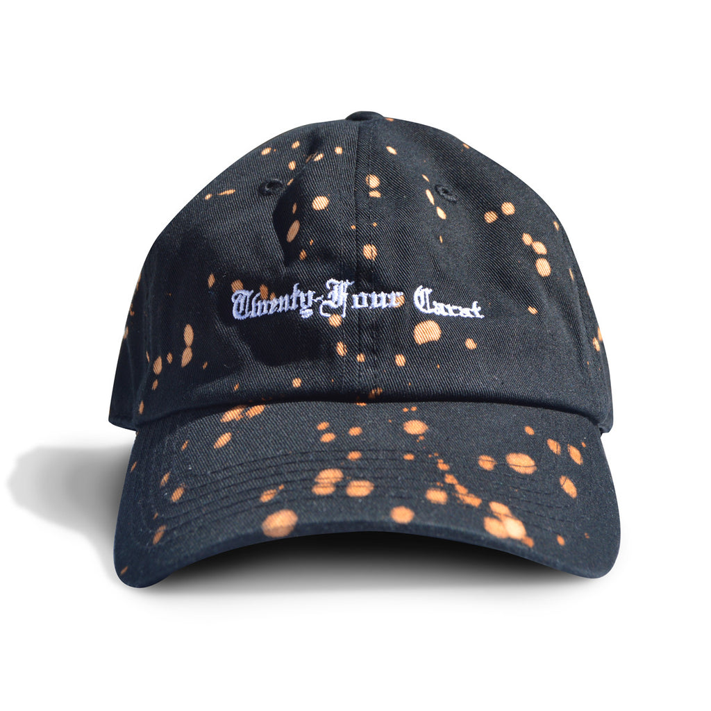 Old English Dad Cap - Black with Bleach