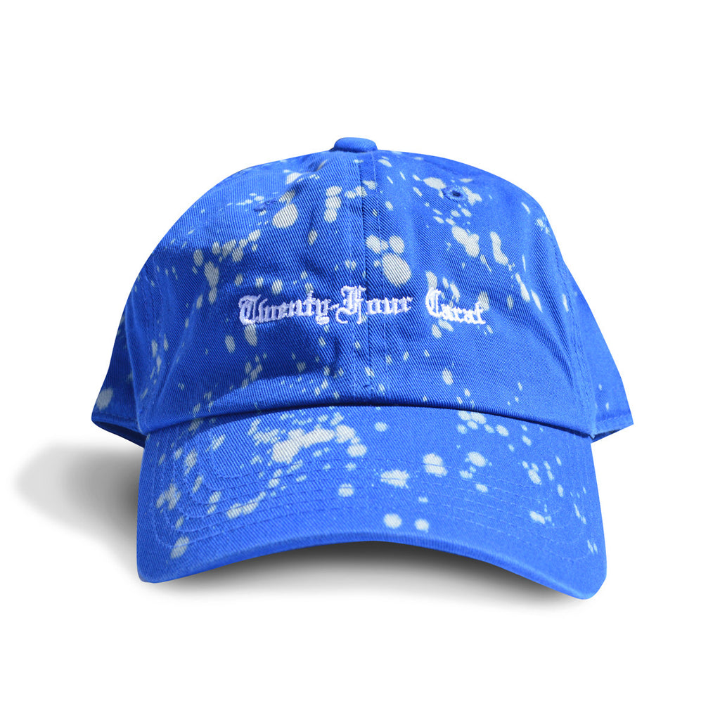 Old English Dad Cap - Royal with Bleach