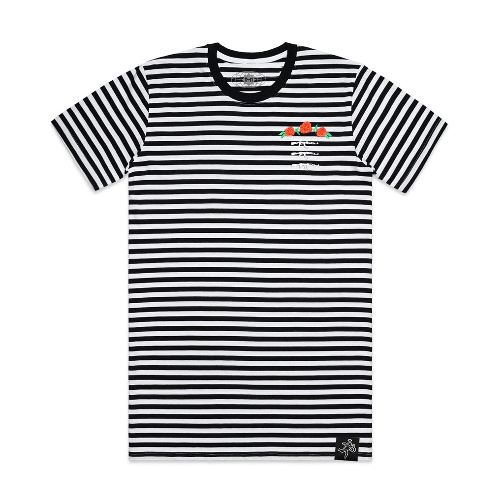 3 AK Rose Seal Stripe Tee Black / White