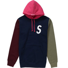 Supreme S Logo Colorblocked Hooded Sweatshirt- Navy