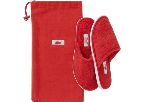Supreme Frette Slippers- Red