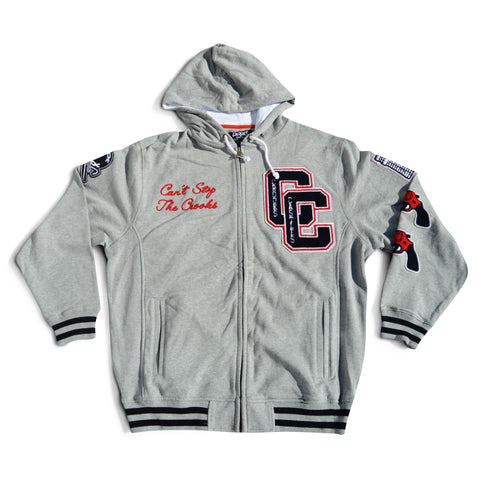 Crooks and Castles Letterman Grey Hoodie