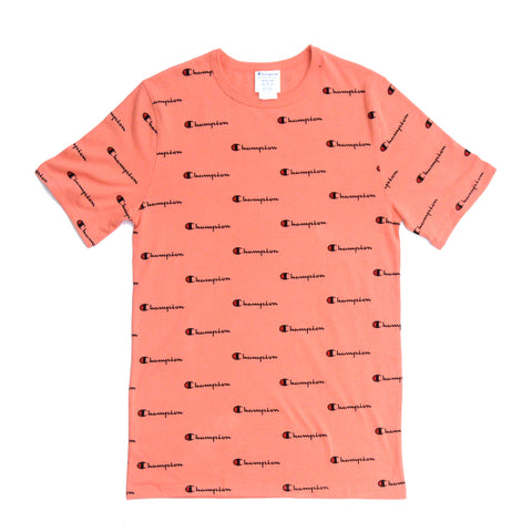 Champion Graphic Heritage All Over Script Tee RIPE PAPAYA RED