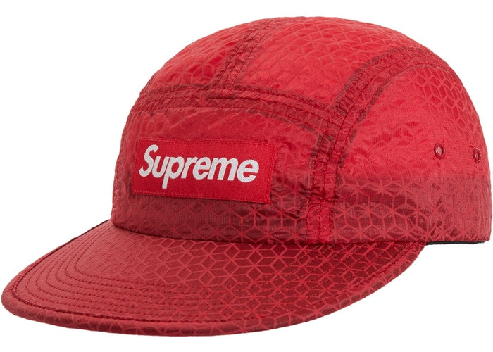 Supreme Geometric Ripstop Camp Cap- Red