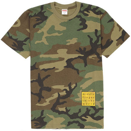 Supreme Middle Finger to the World Tee- Woodland Camo