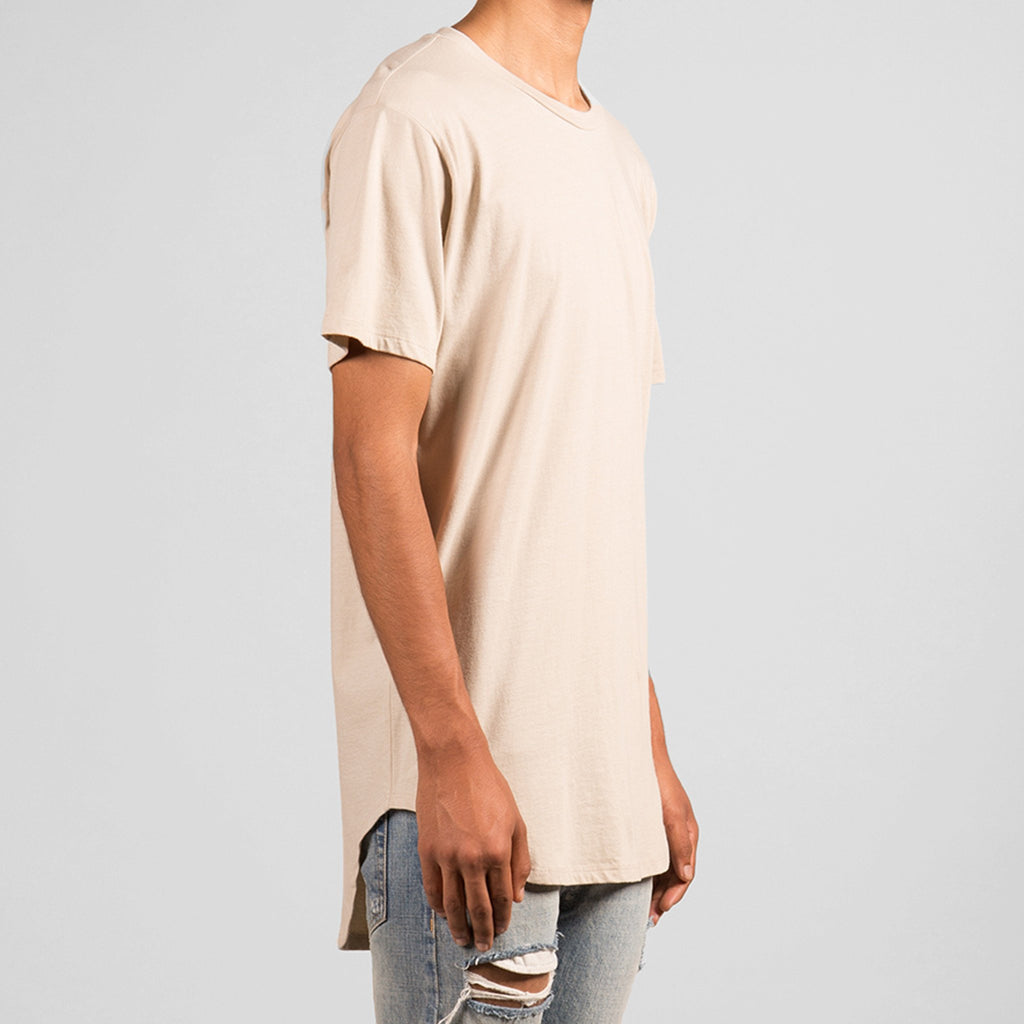 Split-Back Scallop Tee (Frosted Almond)