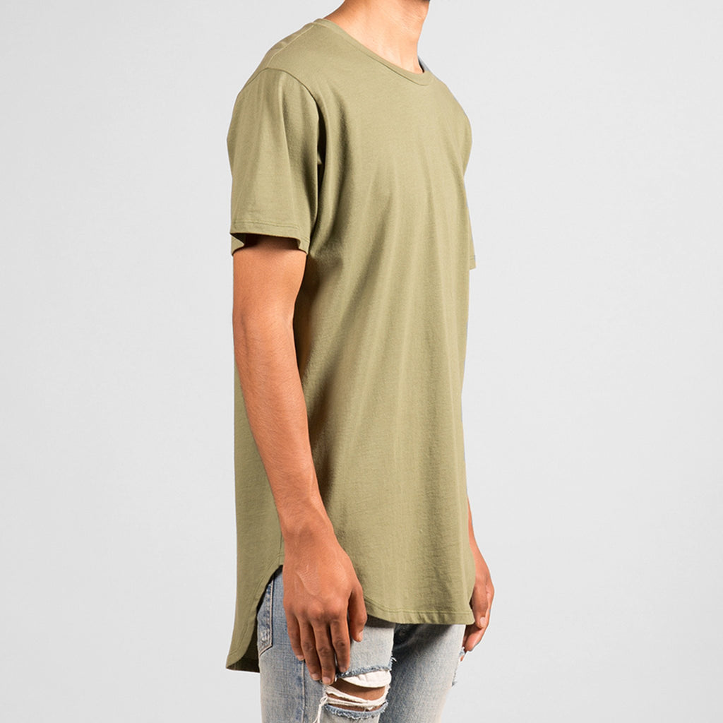 Split-Back Scallop Tee (Smoked Olive)
