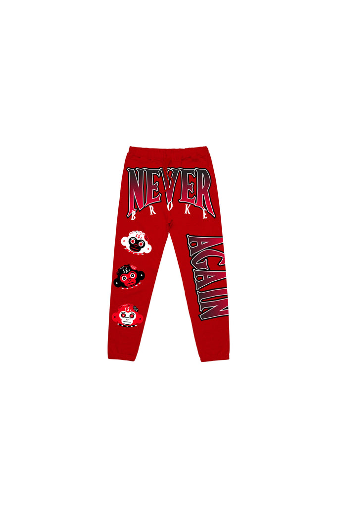Triple Monkey Head Kids Joggers - Red