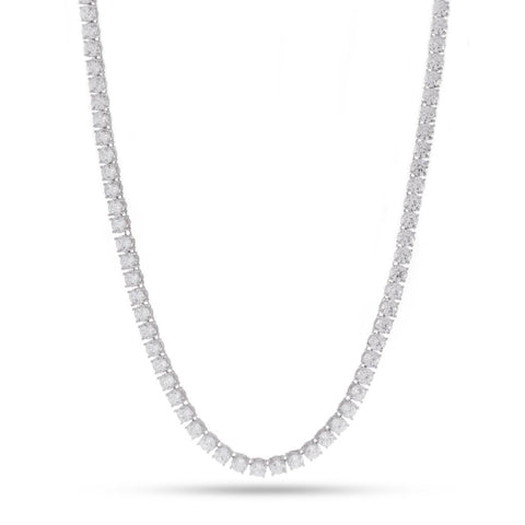 5mm, White Gold Single Row Tennis Chain
