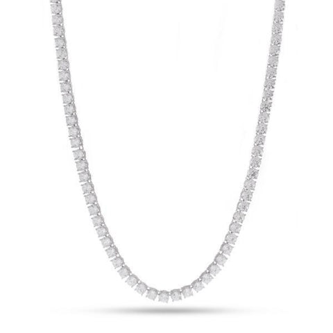 4mm, White Gold Single Row Tennis Chain