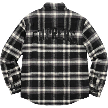 SUPREME Quilted Arc Logo Flannel Shirt - Black