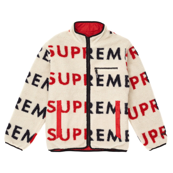 Supreme Reversible Logo Fleece Jacket -Natural