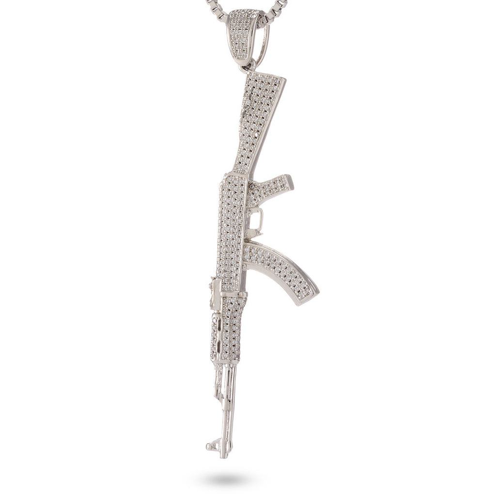 Silver Studded AK-47 Necklace