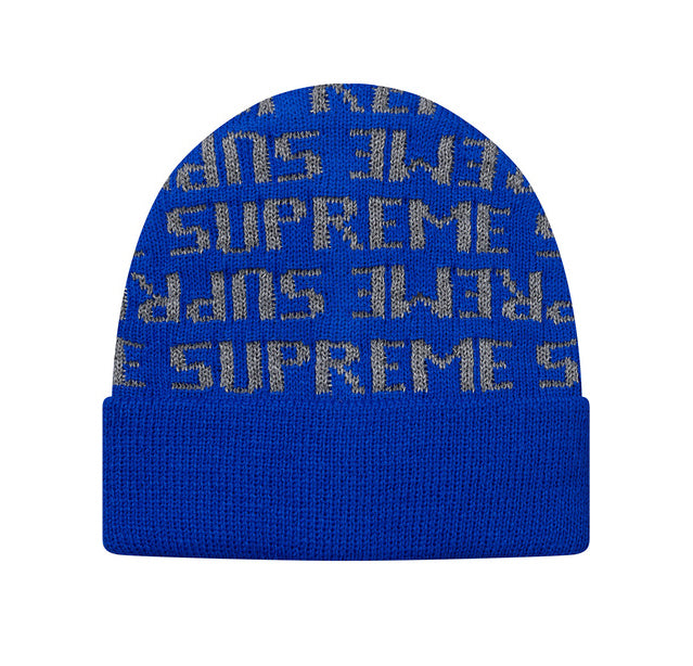 SUPREME Reflective Repeat Beanie (Blue)