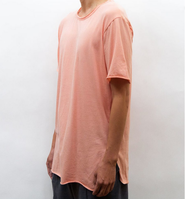 Peach Raw Edge Tee