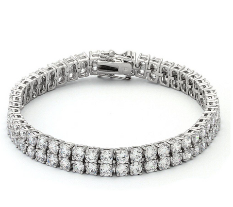 White Gold Dual 4mm Row Tennis Bracelet