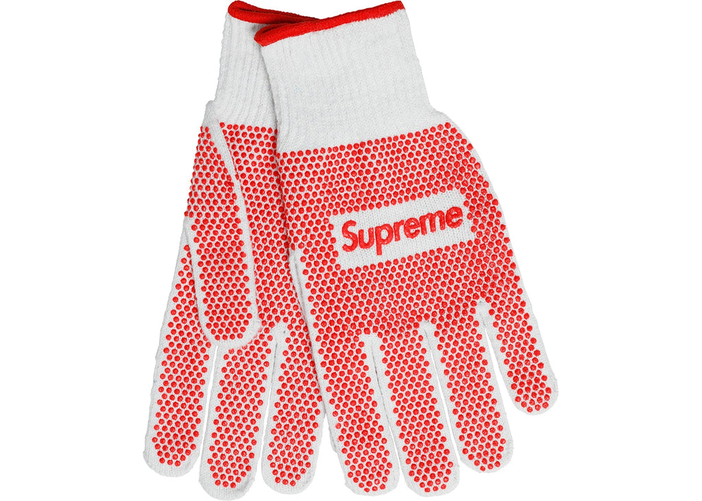 Supreme Grip Work Gloves- White/Red