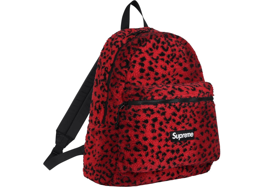 Supreme Leopard Fleece Backpack- Red
