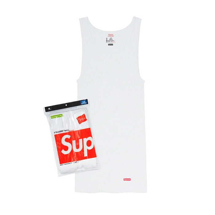 Supreme/Hanes Tagless Tank Tops- White