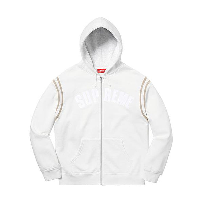 Supreme Jet Sleeve Zip Up Hooded Sweatshirt- White