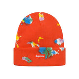 Supreme Splatter Dyed Beanie- Red