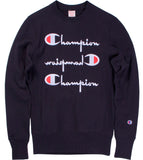 Champion Reverse Weave Triple Script Crew Neck- Black