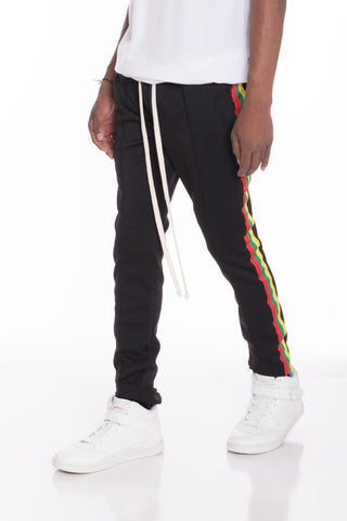 Rasta Taped Track Pants- Black