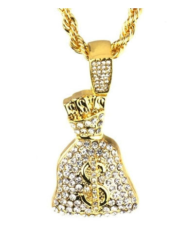 Money Bag Stones Pendant Chain- Gold