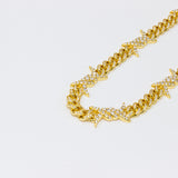 Iced Out Barbwire Link Gold Chain