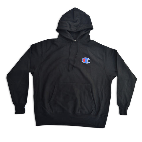 "Baseball ""C"" Fleece Pullover Hoodie Black"