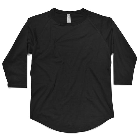Scoop Bottom 3/4 Raglan Sleeve Tee (Black)