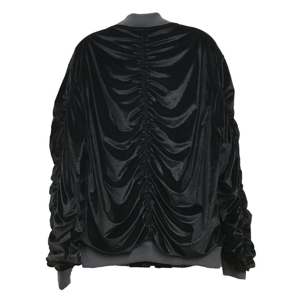 Black Velour Bomber Jacket