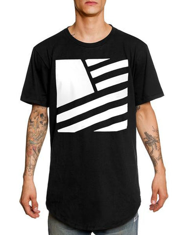 SQUARE FLAG SCOOP TEE (Black/White)