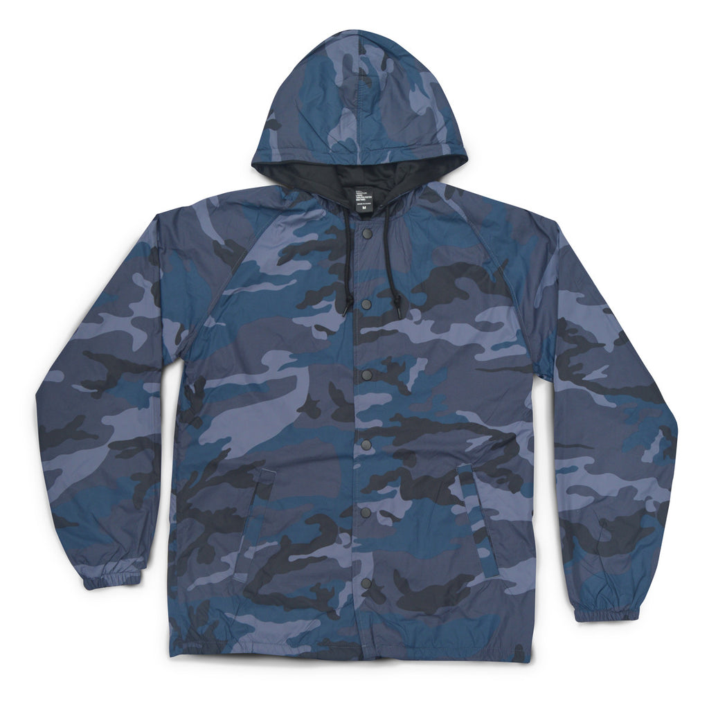 Hooded Navy Camo Coaches Jacket