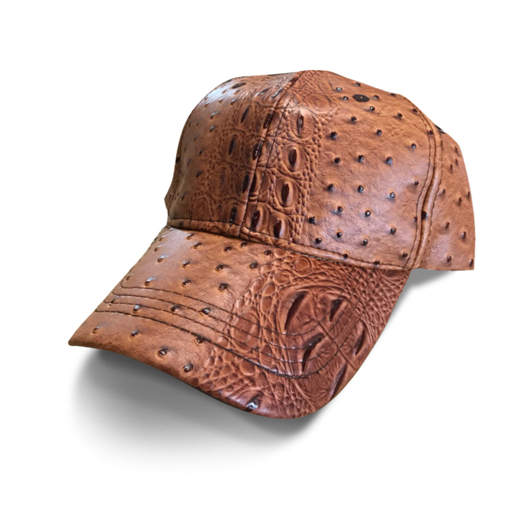 Brown Leather Texured Cap