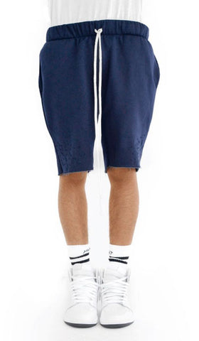 Distressed Fleece Shorts- Navy