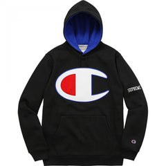 Supreme Champion Satin Logo Hoodie- Black
