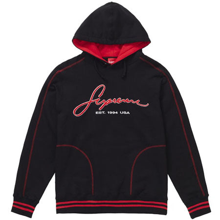 Supreme Contrast Embroidered Hooded Sweatshirt Black