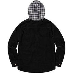 Supreme Hooded Color Blocked Corduroy Shirt- Black/Gray