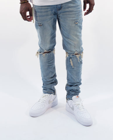 Distressed Denim Jeans- Light Blue